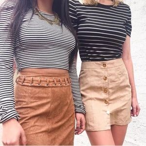 Lf indikah brown lace up camel suede mini skirt